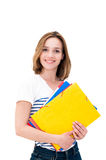 Young smiling woman with Folders Stock Images