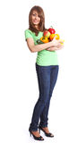 Young smiling woman with fruits Stock Photo
