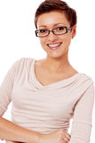 Young smiling woman with glasses and short haircut Stock Photography
