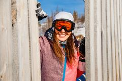 smiling woman in glasses skier royalty free stock photography