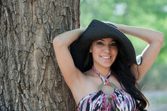 Young smiling woman with hat Royalty Free Stock Images