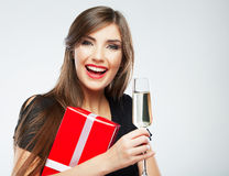 Young smiling woman hold christmas red gift box Stock Photo