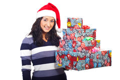 Young smiling woman hold Xmas presents Royalty Free Stock Photography