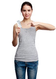 Young smiling woman holding meds in the hands Stock Photos