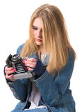 Young smiling woman holding a vintage photo camera Royalty Free Stock Photos