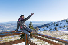 Young Smiling Woman In A Winter Mountain Royalty Free Stock Photography