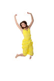 Young smiling woman jumping. Stock Photography