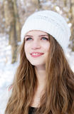 Young smiling woman looking up Royalty Free Stock Image