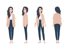 Young smiling woman with loose long brunette hair dressed in casual clothing isolated on white background. Cute girl vector illustration