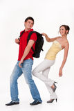 Young Smiling Woman and Man stock photo