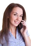 Young smiling woman with mobile phone Stock Image