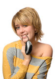 Young smiling woman with mouse Royalty Free Stock Photo