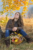 Young smiling woman outdoor in autumn Stock Images