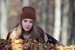 Young smiling woman outdoor in autumn Royalty Free Stock Images