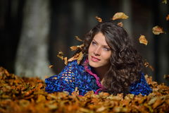 Young smiling woman outdoor in autumn Stock Photo