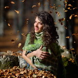 Young smiling woman outdoor in autumn Royalty Free Stock Photos