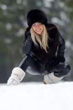 Young smiling woman outdoor in winter Royalty Free Stock Photos