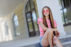 Young smiling woman outdoors portrait Royalty Free Stock Image