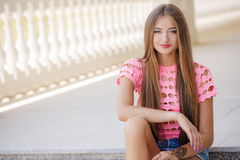 Young smiling woman outdoors portrait Royalty Free Stock Photos