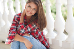 Young smiling woman outdoors portrait royalty free stock photography