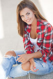 Young smiling woman outdoors portrait Royalty Free Stock Images