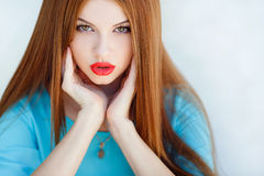 Young smiling woman outdoors portrait. Royalty Free Stock Images