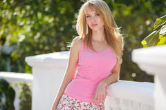 Young smiling woman outdoors portrait. Royalty Free Stock Photos