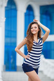 Young smiling woman outdoors portrait. Royalty Free Stock Image