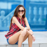 Young smiling woman outdoors portrait. Stock Photography