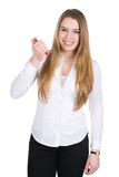 Young smiling woman with pen Stock Photos