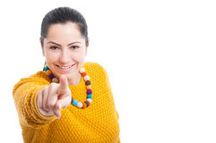 Young smiling woman pointing at you Stock Image