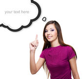 Young smiling woman points by finger up Stock Images