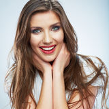 Young smiling woman portrait isolated. Casual style. Beautiful Stock Images