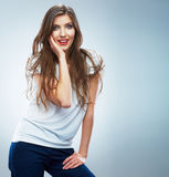 Young smiling woman portrait isolated. Casual style. Beautiful Royalty Free Stock Photos
