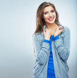 Young smiling woman portrait isolated. Casual styl Royalty Free Stock Photos