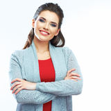 Young smiling woman portrait. Isolated Stock Photos