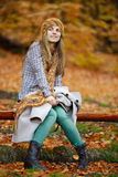 Young smiling woman portrait outdoor in autumn Royalty Free Stock Images