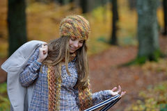 Young smiling woman portrait outdoor in autumn Stock Photos