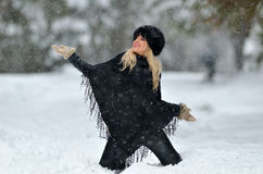 Young smiling woman portrait outdoor in winter Stock Photos