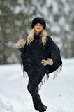 Young smiling woman portrait outdoor in winter Royalty Free Stock Photo
