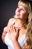 Young smiling woman profile portrait Royalty Free Stock Images