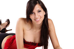 Young Smiling Woman Red Corset Black Panties Stock Photos