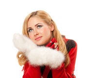 Young smiling woman in red sweater Royalty Free Stock Photos