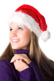 Young smiling woman in santa hat portrait Royalty Free Stock Photos