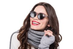 Young smiling woman in scarf and arm warmers, wearing trendy sunglasses,. Isolated on white stock photo
