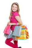 Young smiling woman shopping Royalty Free Stock Photos