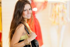 Young smiling woman shopping in the city Stock Image