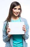 Young smiling woman show blank board. Stock Photos