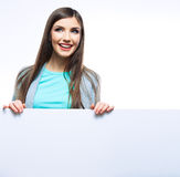 Young smiling woman show blank board. Royalty Free Stock Images
