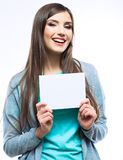 Young smiling woman show blank card. Stock Photos